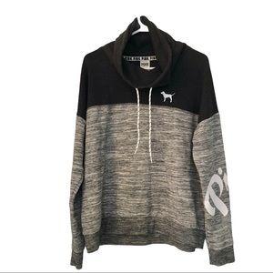 VICTORIA'S SECRET Cowl Neck Gray Marl Sweatshirt,L